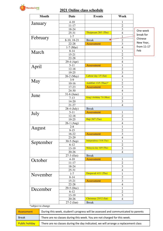 2021 Mandarin PIE Online class calendar (For Parents)